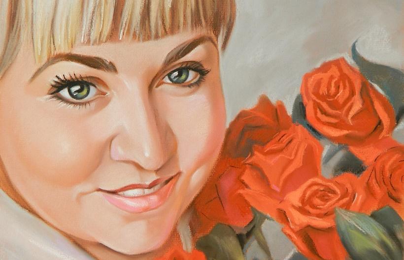 настоящий портрет пастелью на заказ для девушки