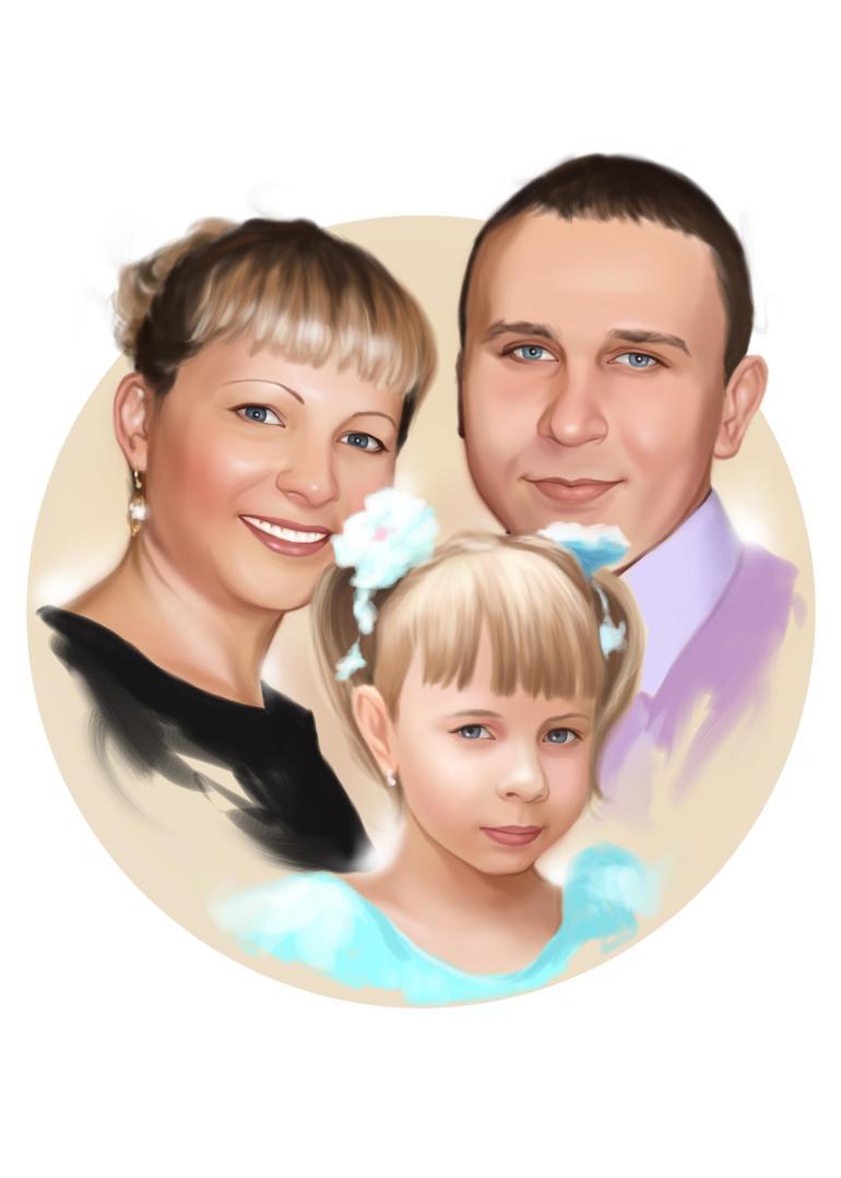 Семейный портрет по фото на холсте в Екатеринбурге — правильный подарок!