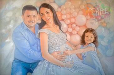 Семейный портрет по фото маслом на холсте в Екатеринбурге