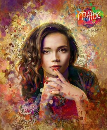 Стилизованный портрет по фото в стиле гранж на заказ Екатеринбург